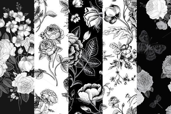 Check out Set of vintage floral pattern B & W by olga.korneeva on Creative Market