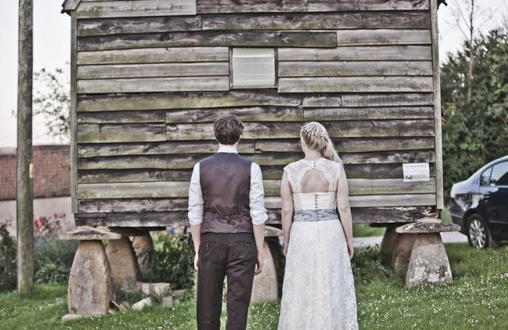 Designs by Jessica Turner.  'Sweet Pea' wedding dress and the groom's waistcoat.