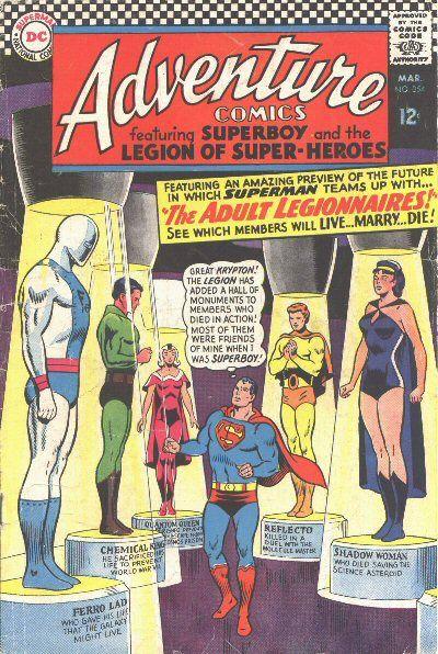 Adventure Comics Legion of Super Heroes 354, cover, The Adult Legionnaires, future stories, DC Comics