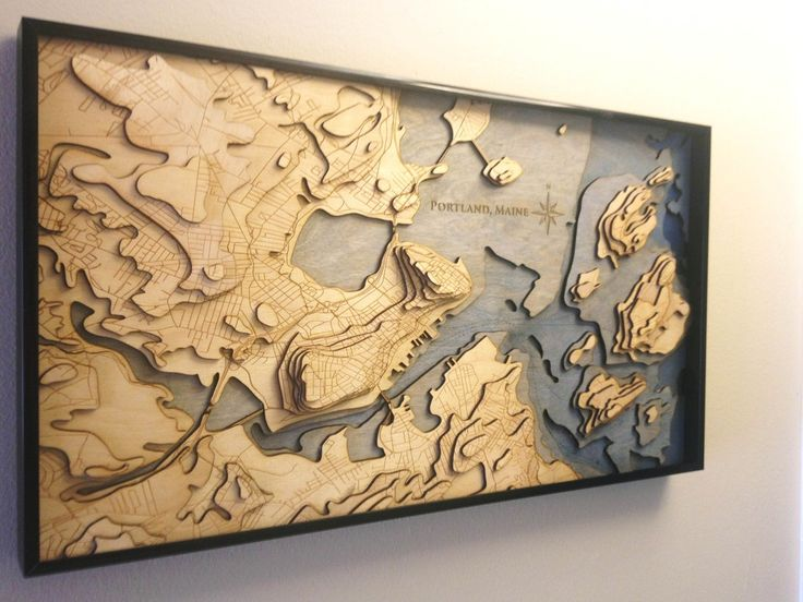 I laser cut a topo map of my hometown of Portland, ME for Christmas (link to more pictures and how-to guide in comments) [3123x2342] [OC] : MapPorn