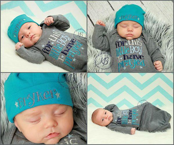 535c6cecbc6 Newborn Baby Boy Gown. For This Little Boy I Have Prayed. Newborn  Personalized Cotton Beanie Hat