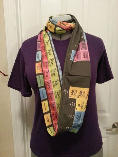 periodic table infinity knit scarf black made to order - Periodic Table Activity Darn My Kid Brother
