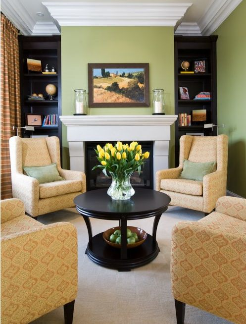 Yellow and green living room for the home pinterest
