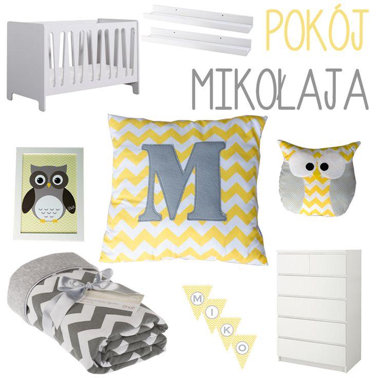 pokój dla dziecka chevron żółty sowy sowa łóżeczko kocyk poduszki komoda malm ikea banner proporczyki zygzak łóżeczko pinio moon półki na książki