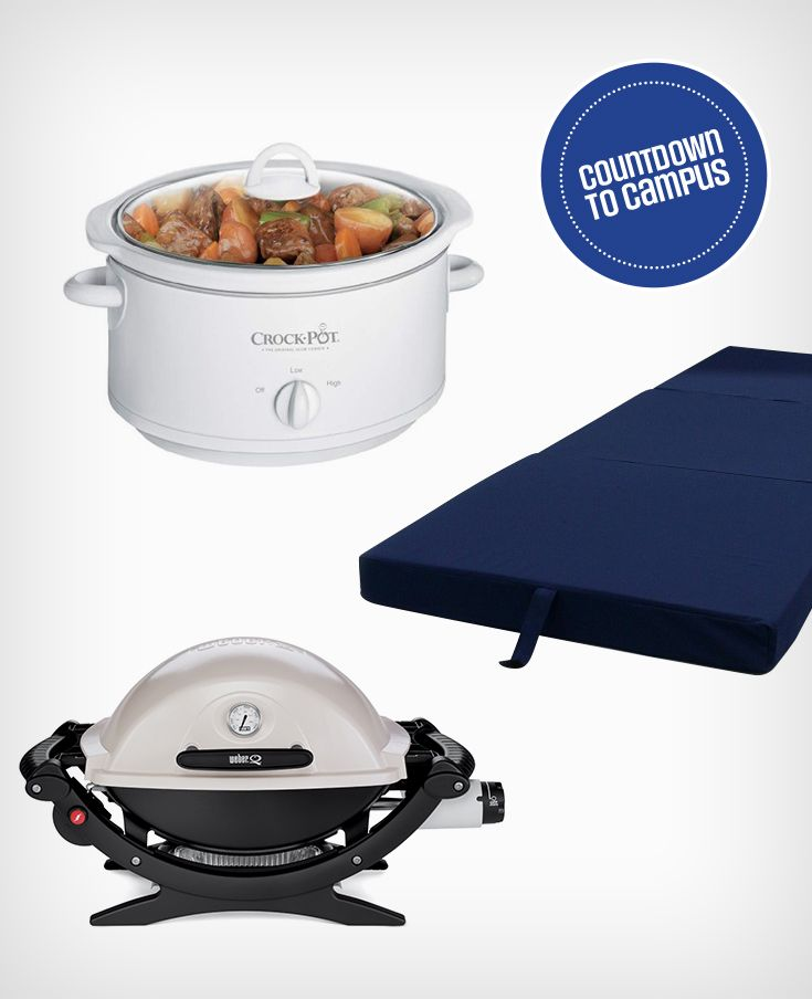 Friends visiting your dorm for the weekend? Be the host with the most: an orthopedic guest bed, crock pot and portable gas grill is perfect for big dinners