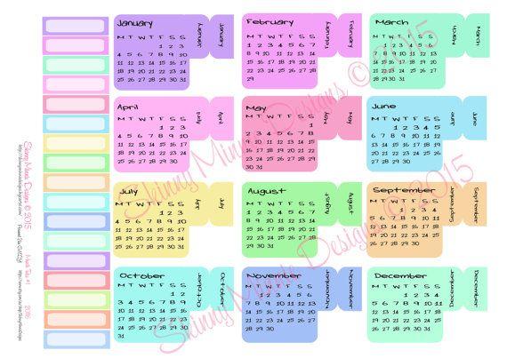 2016 Calendar Planner Month Tabs  (Digital Download)
