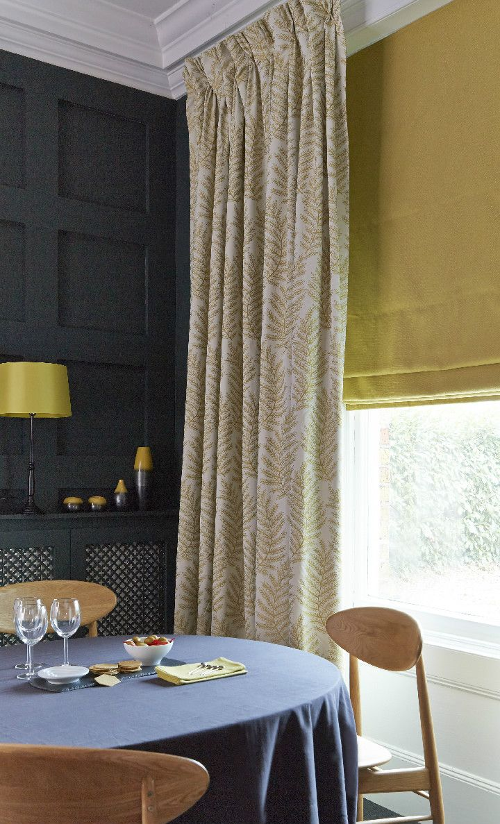 Blinds and curtains combination bedroom - Dark Moody Shades Mixed With Bright Patterns And Plains Creates The Perfect Clash Add Simple