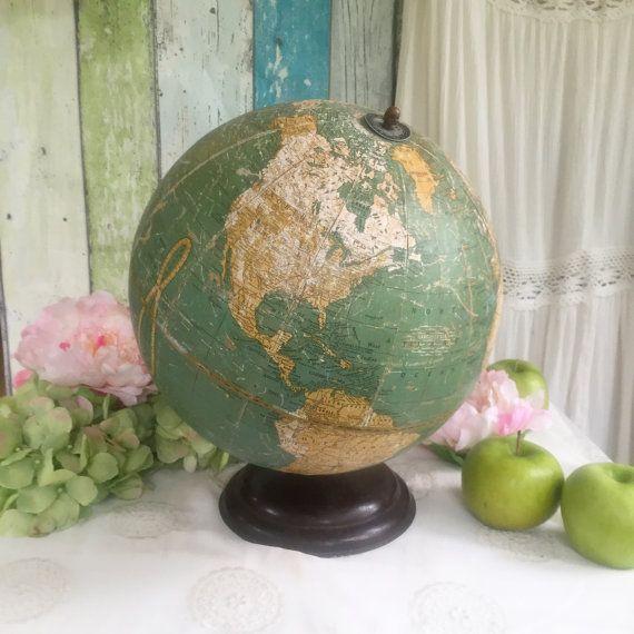 The 25 best rustic world globes ideas on pinterest world map antique 1939 old world globe 12 desktop vintage office decor crams universal terrestrial globe rustic primitive shabby chic retro gumiabroncs Images