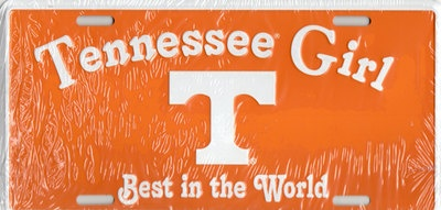 TENNESSEE GIRL VOLUNTEERS NEW LICENSE PLATE. RollTideWarEagle.com great sports stories, audio podcast and FREE on line tutorial of college football rules. #CollegeFootball #Vols