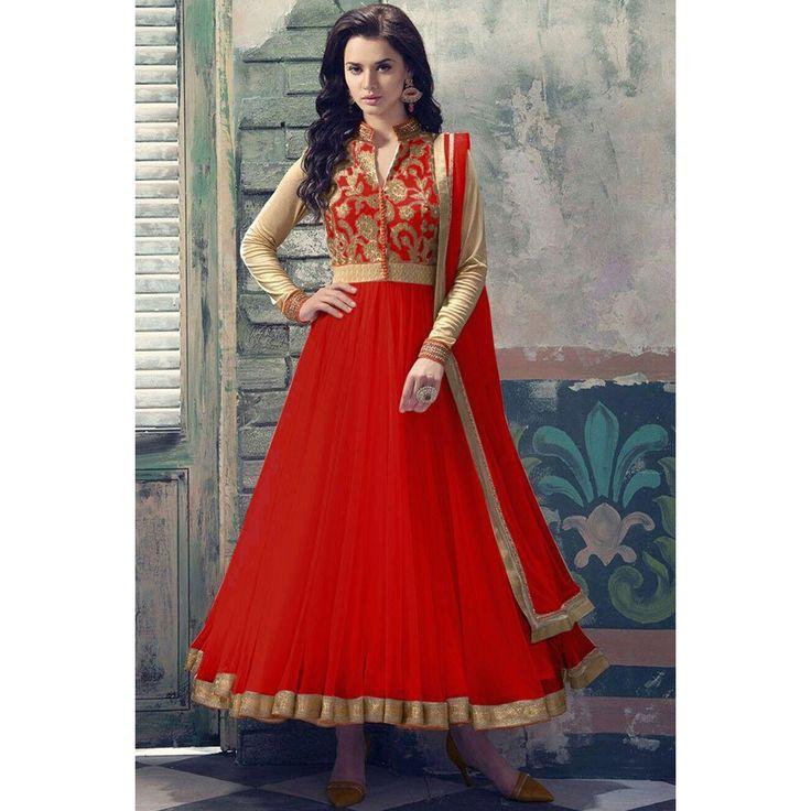 Red Soft Net Anarkali churidar suit