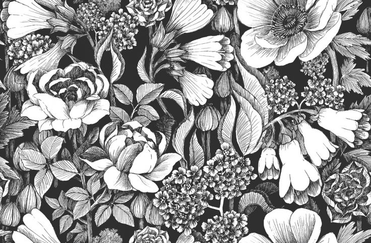 Läcker storblommig tapet i svartvitt från kollektionen Marimekko 4 17920. Klicka för att se fler inspirerande tapeter för ditt hem!