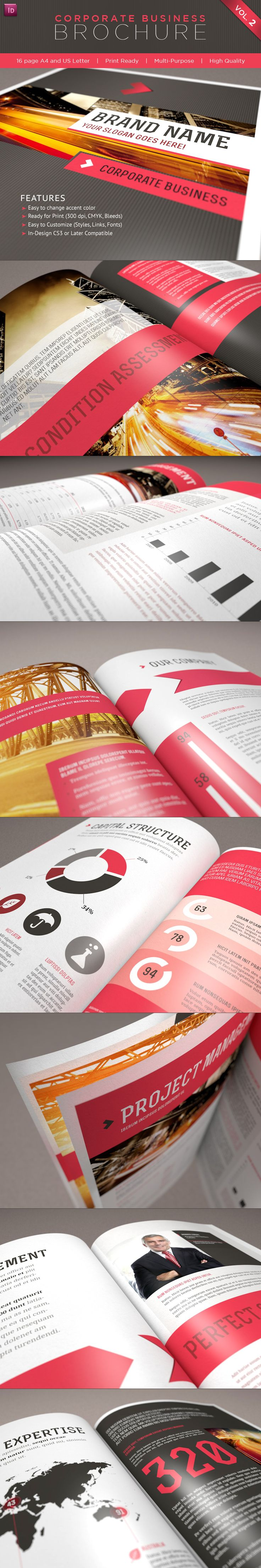 16 Page Business Brochure Template for InDesign - Letter size would work with MagCloud Standard product
