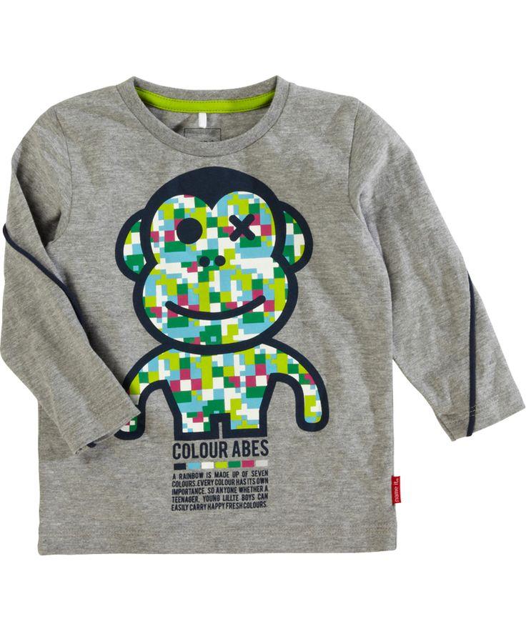 Name It super cute little funny monkey T-shirt in grey #emilea