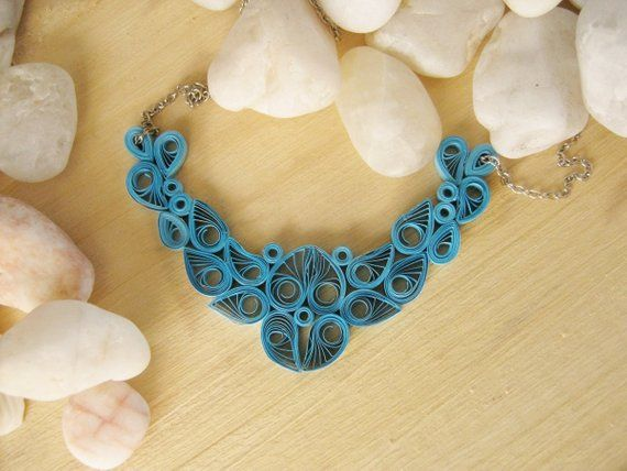 First Year Anniversary Gift For Her Blue Paper Necklace Etsy First Wedding Anniversary Gift Paper Jewelry Quilled Jewellery
