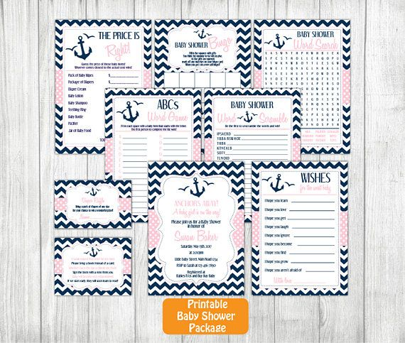 Nautical Girl Baby Shower Invitation Set Nautical Printable