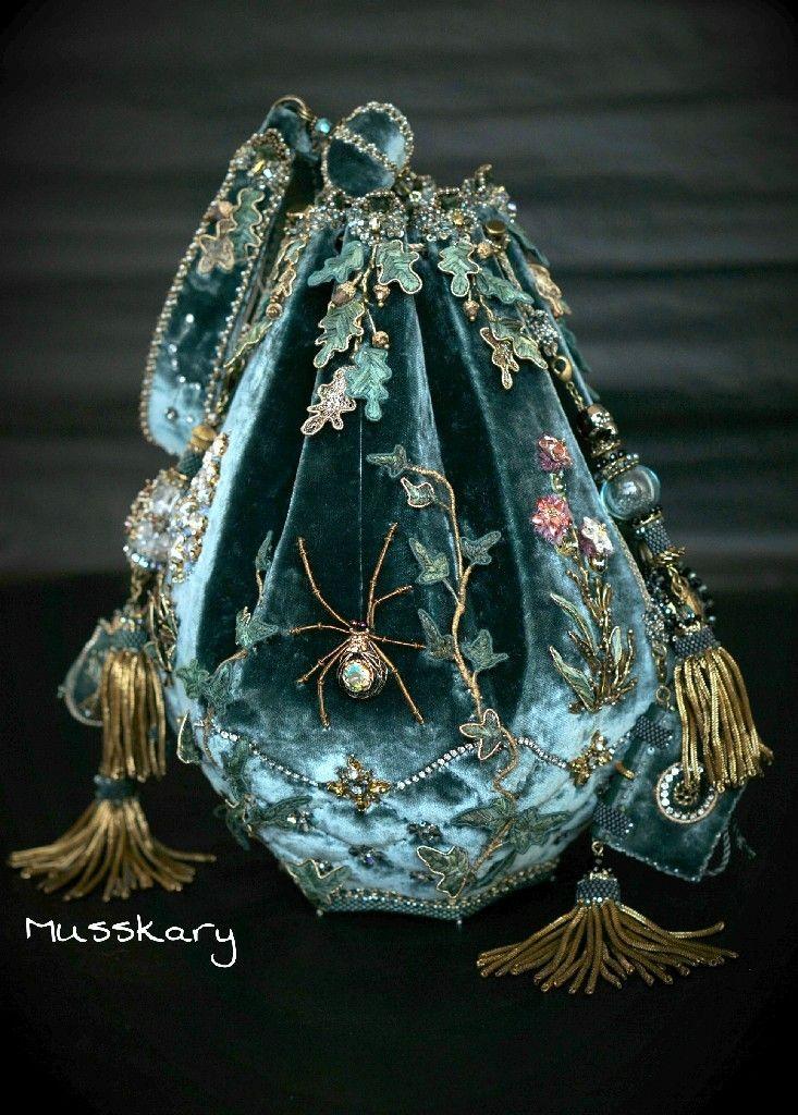 Velvet sack purse with spider embellishment