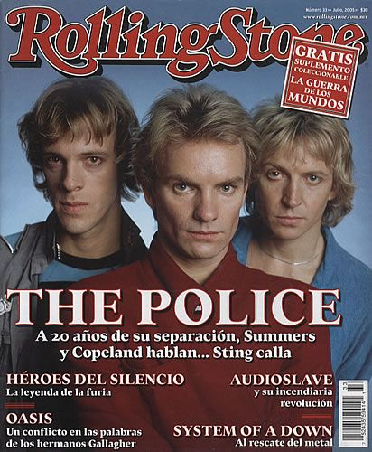 "The Police on the cover of a Mexican issue of the ""Rolling Stone"" magazine, probably 2003  Quelle: http://eil.com"