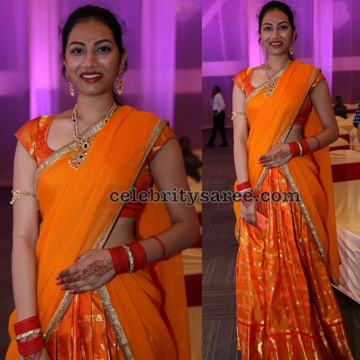 Orange Traditional Silk Half Saree