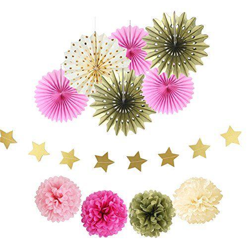 Gold Pink Cream Paper Fans Pom Pom Flowers Wedding Birthday Party Decoration