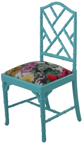 OFFICE: Custom Chippendale Bamboo Chair - Design Your Own Chair. Lots of colours and fabrics to choose from.  Not sure what you think of chippendale chairs. More of a girly option for the office. Not sure what S would think!