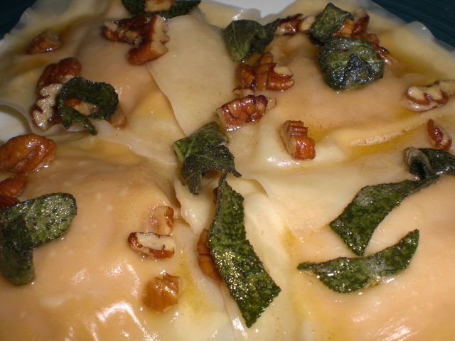 butternut squash ravioli with sage brown butter sauce and pecans