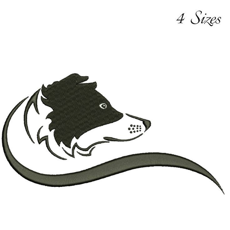 Border Collie face embroidery design machine embroidery design Digital Download  instant dog head design by GretaembroideryShop on Etsy