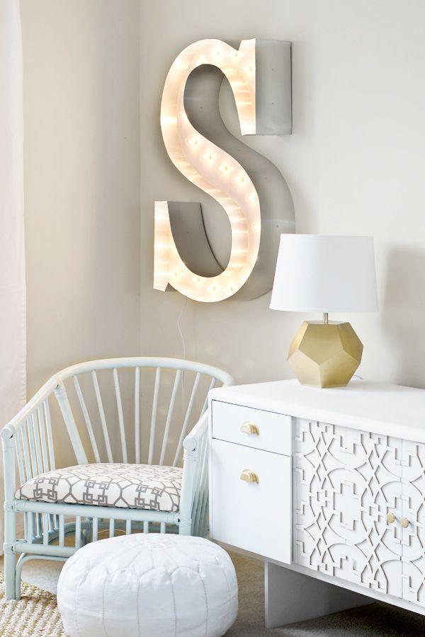 DIY Marquee Letter & Renter-Friendly Curtains {Sarah M. Dorsey} - East Coast Creative Blog