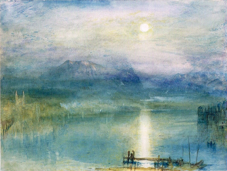 """""""Moonlight over Lake Lucerne with the Rigi in the Distance"""" ,J.M.W. Turner"""