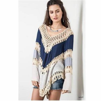 Mini-robe Mode Floral Vintage Hippie Boho personnes avec dentelle brodée Crochet bleu