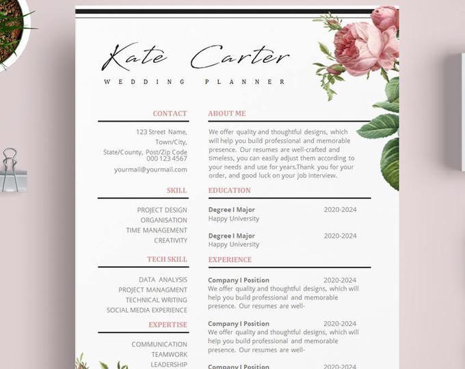 Floral Resume Template Flower Cv Template Purple Hydrangea Flower Resume Template Creative Cv Template Purple Resume Template Design Resume Template Creative Cv Template Resume Design Template
