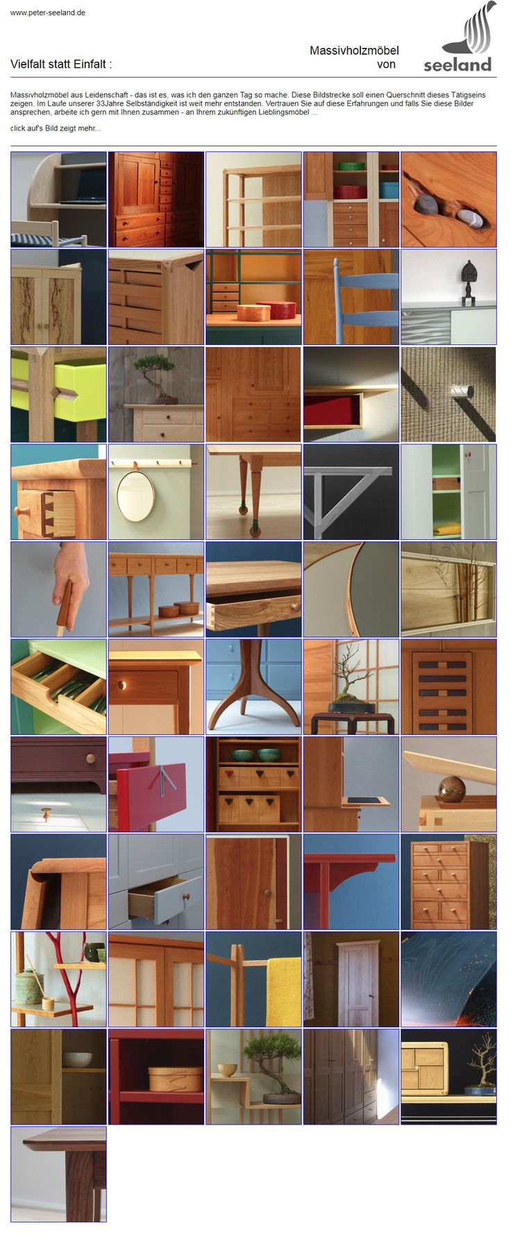 screenshot,Massivholzmöbel P.S. website // Seeland