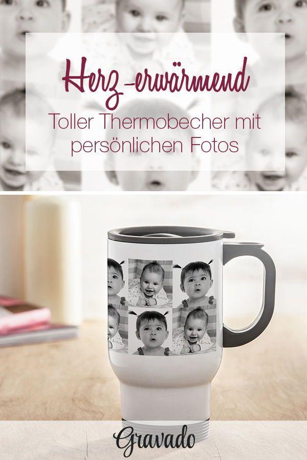 Weißer Thermobecher bedruckt mit Fotos - Foto Tasse personalisiert ...