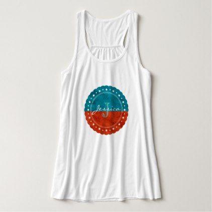 Elegant Burnt Orange & Turquoise Leather Monogram Tank Top - trendy gifts cool gift ideas customize