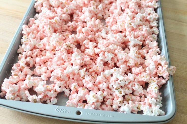 Pink popcorn recipe using Wilton chocolate melts