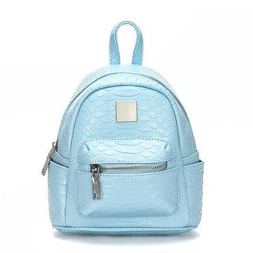 Croc Leather-look Mini Backpack in Light Blue