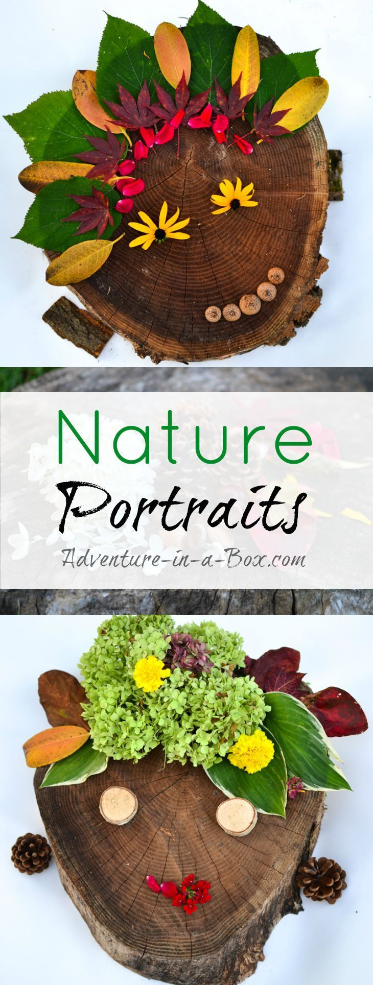 Nature Portraits: With a few autumn leaves, acorns and chestnuts and a lot of imagination, a stump can turn into a canvas for creating portraits of your family. Beautiful nature-inspired autumn craft for kids!