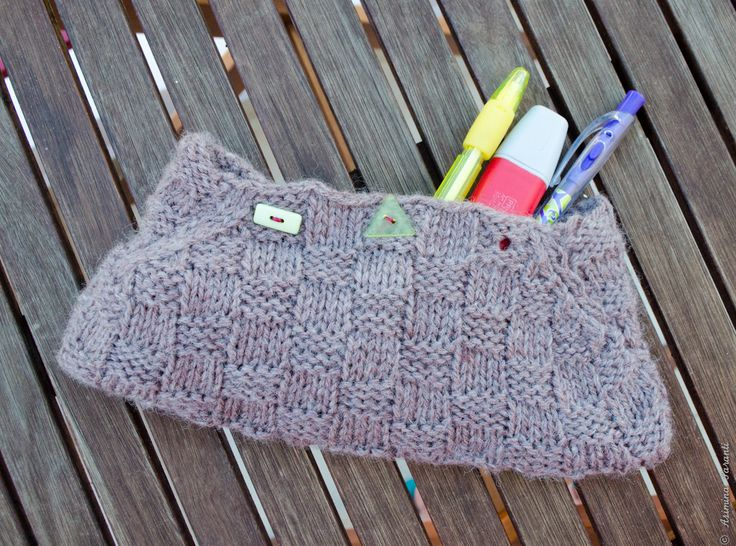 Wool pencil case Large hand knit back to school by UberdenTraum