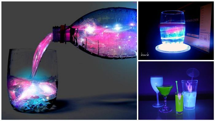 Glowing Aurora Cocktail! Tonic water glows under black light! Need black light to make this work but this is so cool!!