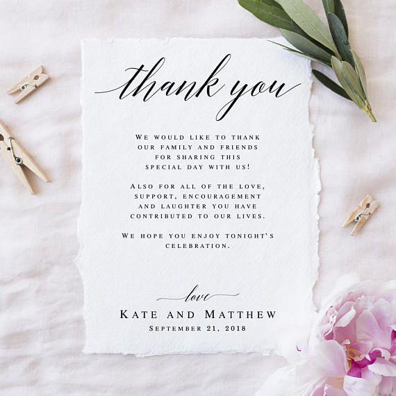 Wedding Thank You Notes Printable Templates Editable Thank You