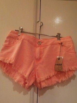 Denim Shorts Girls Women's Pink Torn Look Hot New | eBay