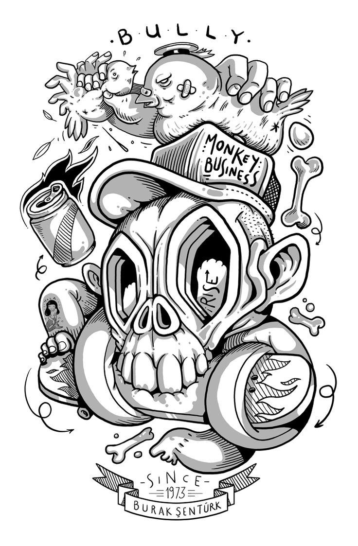 New Engraving Skateboards Illustration art drawing