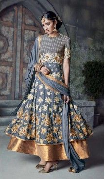 Slate Gray Color Georgette Anarkali Salwar Stitched Suits with Dupatatta…