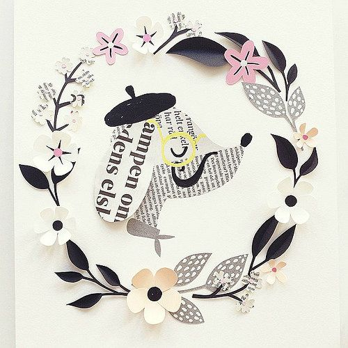 Paper Sculpture Wreath with French Dog