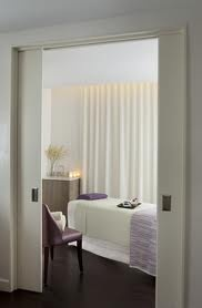spa treatment rooms - sliding doors, seating inside, need sink in private room