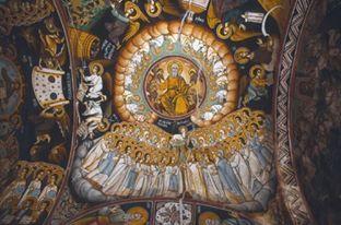 Αγιογραφια στο εσωτερικο του καθολικου της Ιεράς Μονής Χιλανδαρίου - Hagiography at the katholikon of Chilandari Monastery