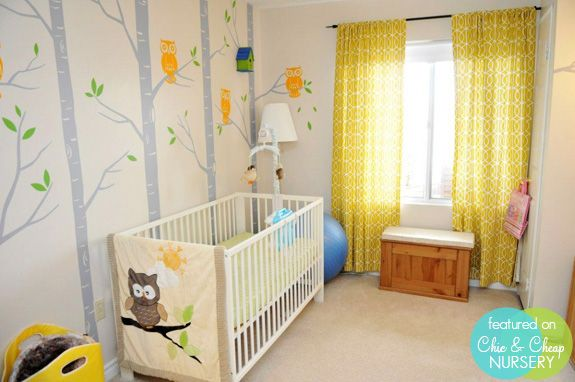 Owl nursery - neutral w/ bright pops of colorful. Change out crib for a dark wood and you're getting closer to the look I'm going for.