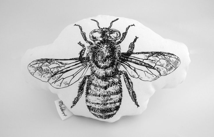 Hand screen printed cotton bee plushie
