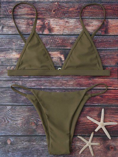SHARE & Get it FREE | Cami Plunge String Bikini Set - Army GreenFor Fashion Lovers only:80,000+ Items • New Arrivals Daily Join Zaful: Get YOUR $50 NOW!
