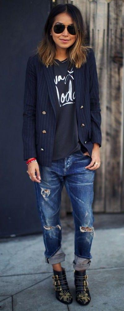 blazer. tee. boyfriend jeans. studded boots.
