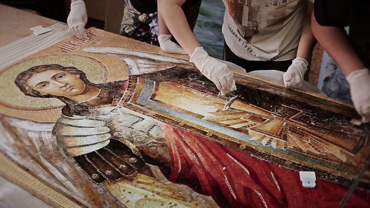Мозаика из стекла. Церковная мозаика Архангел Михаил.